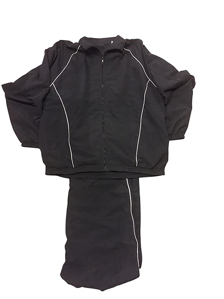 LD Sport Big and Tall MicroFiber Jog Suit Black With White Piping