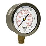 Winters PFQ Series Stainless Steel 304 Dual Scale Liquid Filled Pressure Gauge with Brass Internals, 0-400 psi/kpa, 2