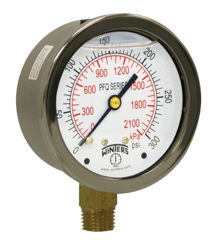 Winters PFQ Series Stainless Steel 304 Dual Scale Liquid Filled Pressure Gauge with Brass Internals, 0-300 psi/kpa,2-1/2
