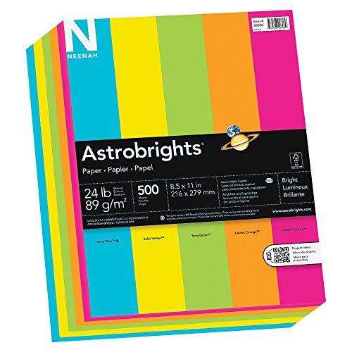 "Astrobrights Color Paper, 8.5"" x 11"", 24 lb/89 gsm, ""Brights"" 5-Color Assortment, 500 Sheets (Green Colored Paper)"
