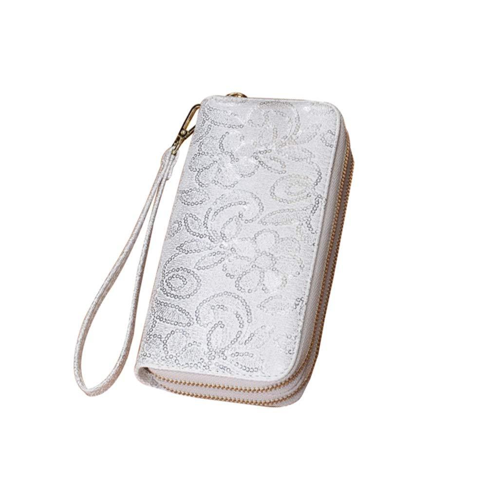 HAWEE lunga clutch portafoglio donna doppia cerniera portamonete borsa per cellulare pochette da polso con slot per schede multiple per banconote
