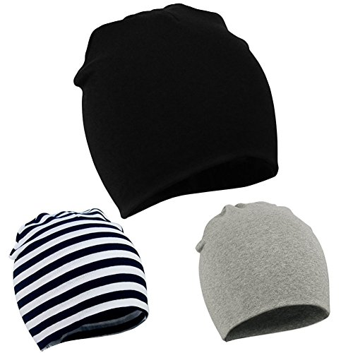 Zando Baby Kids Cotton Knit Beanie Hat for Baby Boys Newborn Lovely Cap Toddler Infant Soft Cute Hat Cap Black & Black White & Light Grey 0-12 Months