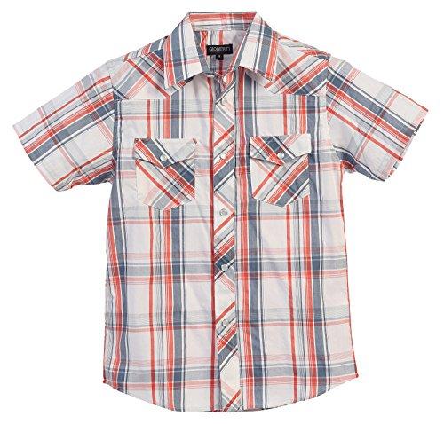 [Gioberti Boys Casual Western Plaid Pearl Snap Short Sleeve Shirt, Orange Band : Size 8] (Orange Plaid Western Shirt)