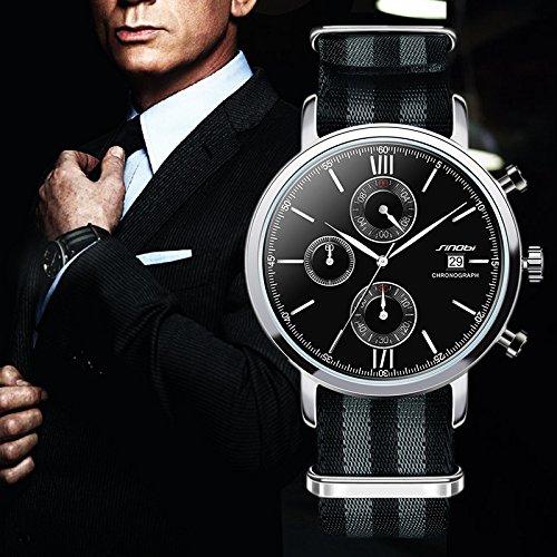 SW07NB004 SINOBI Sports Chronograph Men Wrist Watches NATO Strap Nylon Watchband Luxury Military Males Geneva Quartz Clock James Bond 007