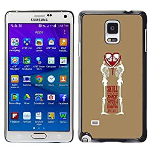 A-type Colorful Printed Hard Protective Back Case Cover Shell Skin for Samsung Galaxy Note 4 IV / SM-N910F / SM-N910K / SM-N910C / SM-N910W8 / SM-N910U / SM-N910G ( Love Skull Funny Brown White Heart )