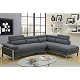 2Pcs Modern Charcoal Glossy Polyfiber Sofa Chasie Sectional Sofa Set with Flip Up Headrest and Stainless Steel Legs