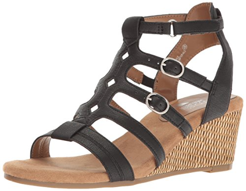 Aerosoles Women Sparkle Wedge Sandal, Black, 10 M US