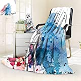 vanfan Blanket Comfort Warmth Soft Sketchy Fashion Lady Hat Looking at Watercolor Splash Brushstroke Steam Artsy Image,Silky Soft,Anti-Static,2 Ply Thick Blanket. (90''x70'')