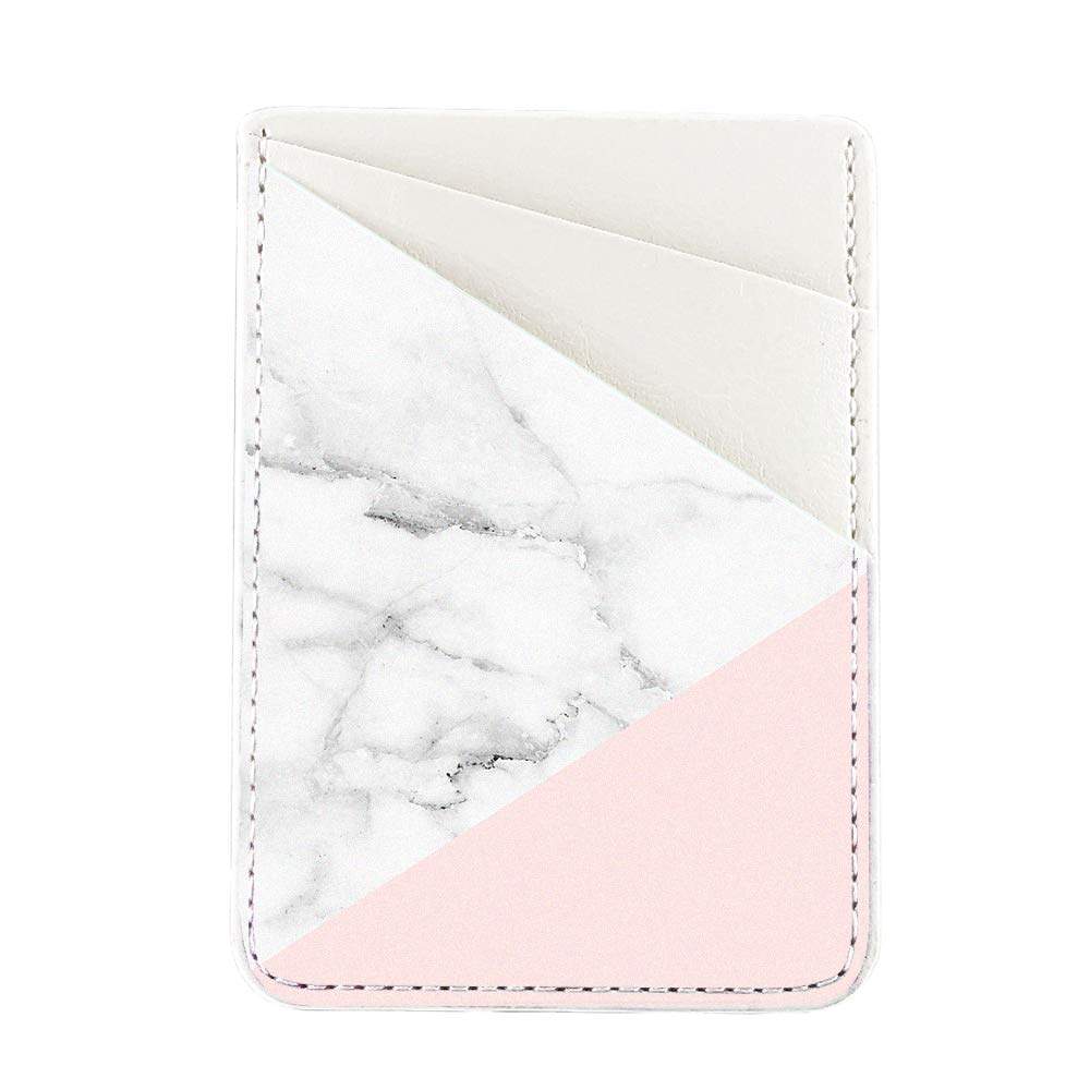 Obbii Baby Pink Marble PU Leather Card Holder for Back of Phone with 3M Adhesive Stick-on Credit Card Wallet Pockets for iPhone and Android Smartphones by Obbii (Image #1)