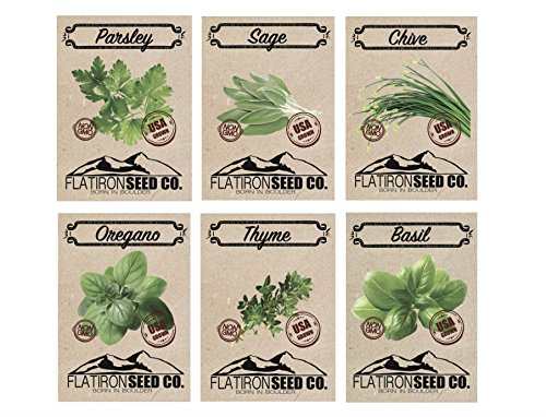 Organic, Non-GMO Herb Seeds - Variety Packs by Flatiron Seed Co | Assorted Herb Seed Packets That are Easy to Grow Indoors Or Outdoors.