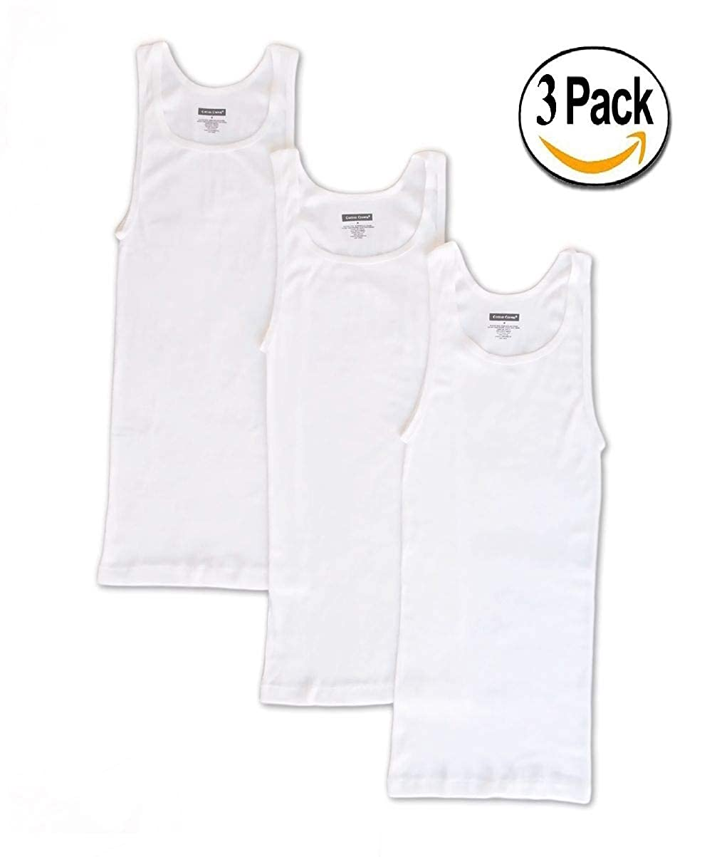 Goza Cotton Men's Tagless A-Shirt Undershirt Top Tank Athletic Fit White (3 Pack)