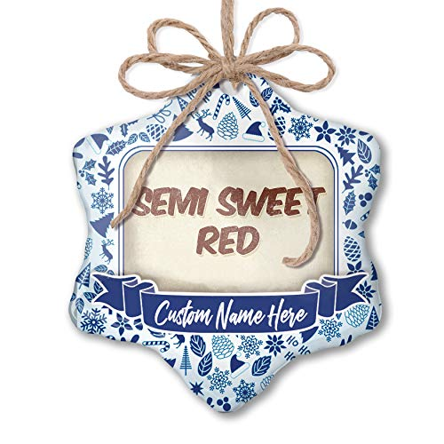 Semi Red Sweet Wine (NEONBLOND Custom Tree Ornament Semi Sweet Red Wine, Vintage Style with Your Name)