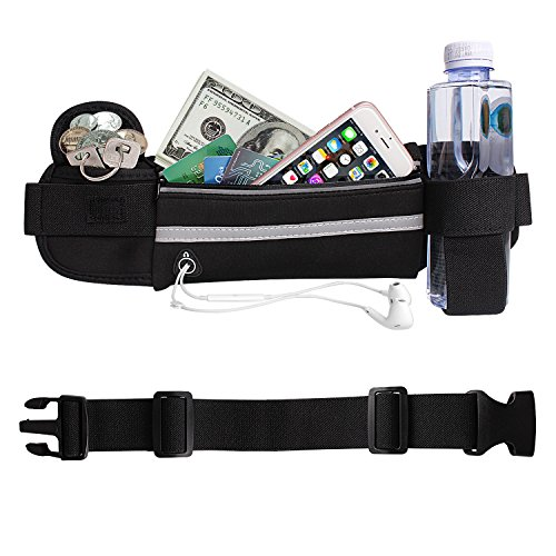 Running Belt Fanny Pack ,Waist Pack Pockets with Water Bottle Holder Waterproof Reflective Bag for iPhone 8 X 7 6S Plus Samsung Key for Running Hiking Cycling Travelling Gym