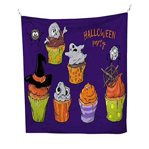 25 Home Decor Hippy Tapestries Cartoon Cupcakes with a Ghost and a Witch s hat in The Style of Halloween Urban Outfitters Tapestries 57W x 74L INCH ()