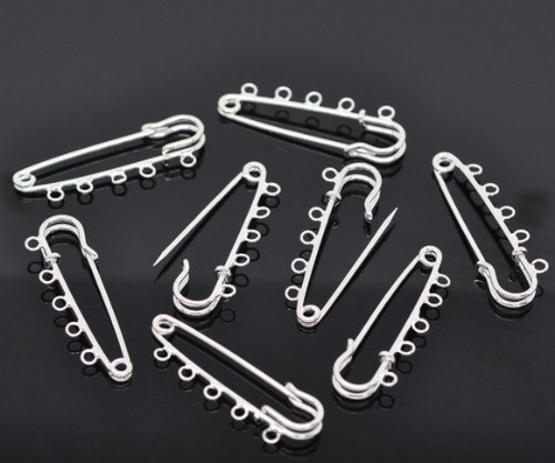 5 x Silver Plated Kilt Pin Brooch 5cm with 5 Loops Jewellery Findings
