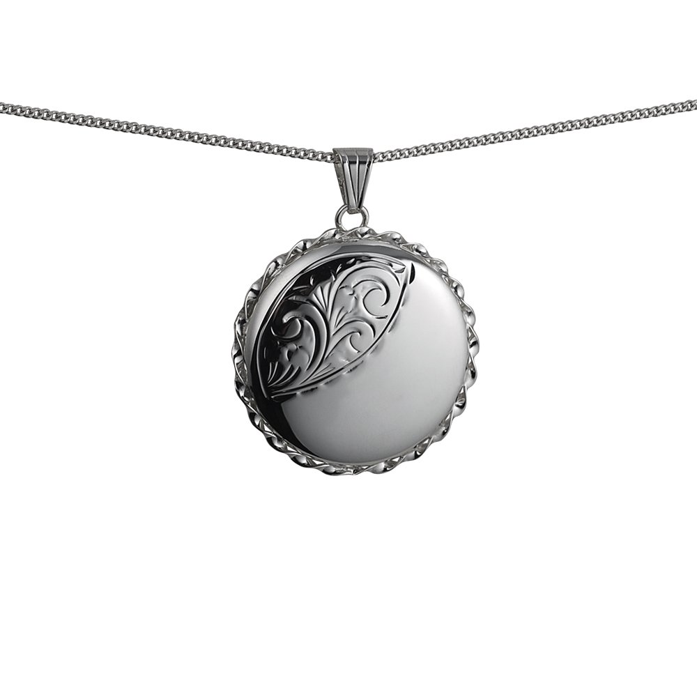 Silver 31mm half engraved twisted wire edge round Locket with a curb Chain 24 inches