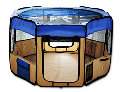 ESK Collection Pet Exercise Pen Kennel, 48 Inch, Blue