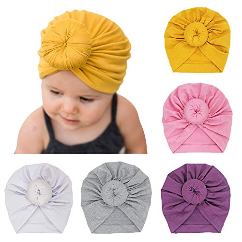 5 Pack Baby Hat Knot Head Wrap Toddler Kids Girl Boy Soft Cotton with Nursery Beanie Hospital Cap