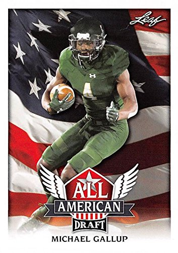 Michael Gallup Football Card (Colorado State Rams, Dallas Cowboys) 2018 Leaf Draft All American #AA9 Rookie