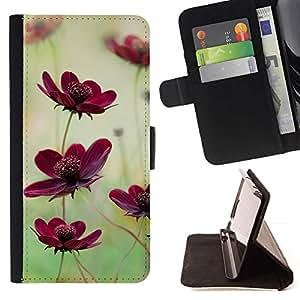 For LG G4 Case , Campo de flores Naturaleza verde púrpura del trullo- la tarjeta de Crédito Slots PU Funda de cuero Monedero caso cubierta de piel