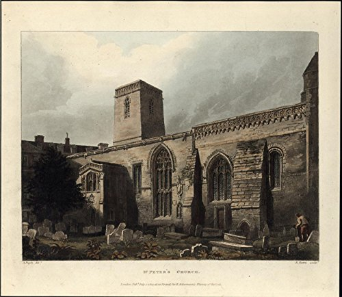 St Peter Church Oxford England 1814 antique aquatint Ackermann color old print