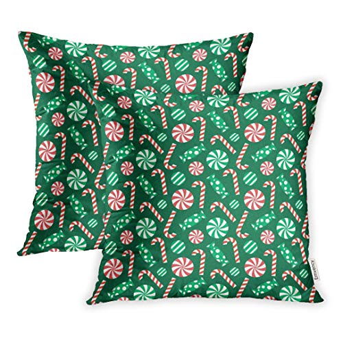 Emvency Set of 2 Decorative Throw Pillow Case Cushion Cover Green Candy Christmas Pattern Red Cane Celebration 18x18 Inch Cases Square Pillowcases Covers Two Sides ()