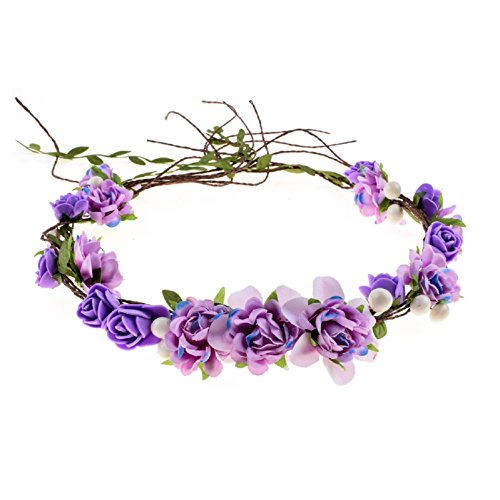 Love Sweety Women Girls Bride Rose Pearl Flower Crown Boho Floral Headpiece for Party (Purple) - Pearl Crown Pin