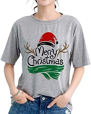 NANYUAYA Merry Christmas T Shirt Womens Christmas Cute Graphic Letter Print T-Shirt Casual Short Sleeve Tops Tees