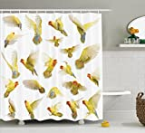 Flying Birds Decor Shower Curtain Set By Ambesonne, Collection Of Flying Rosy Peach Faced Love Birds Wild Life Colored Feathers Wings Home , Bathroom Accessories, 69W X 70L Inches, Multi