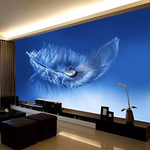 Sproud Custom Any Size 3D Mural Wallpaper Modern Abstract Blue Feather Mural Wall Covering Living Room Office Backdrop Photo Wallpaper 430cmX300cm