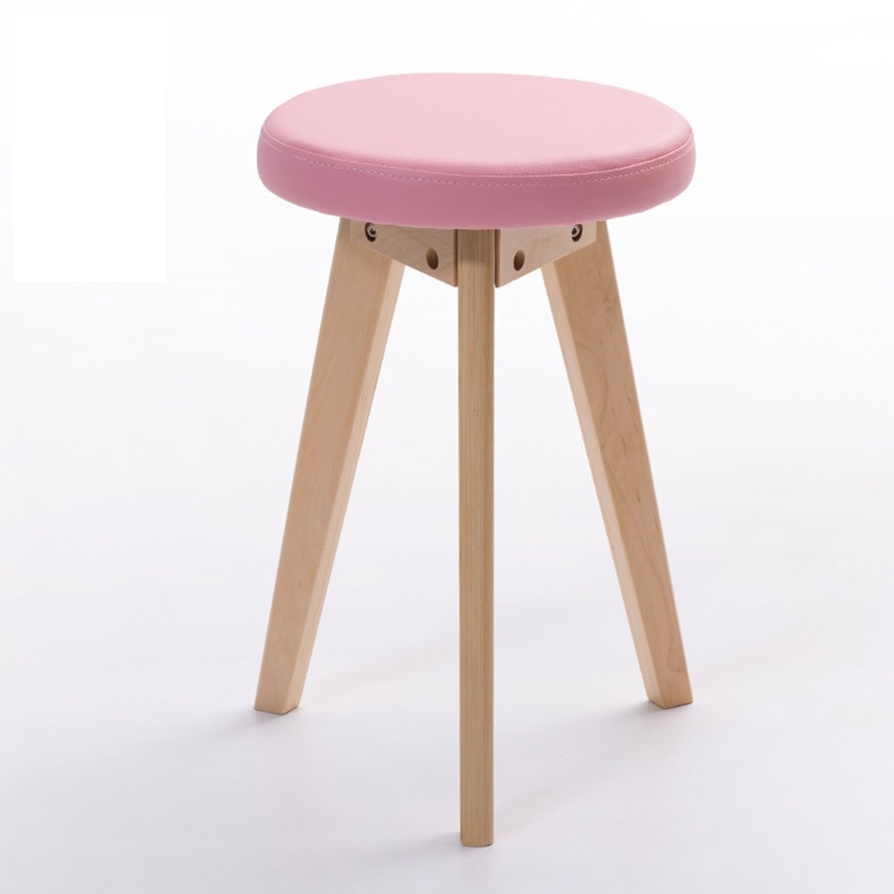 Barstools MAZHONG Anti-hump Back Stool Solid Wood Dressing Table Dressing Stool PVC Nordic Stool Adult Home Stool Correct Sitting Posture (color) (Color : Pink, Size : A)