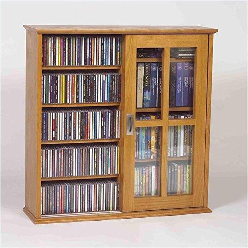 Cd / Dvd Glass Door (Leslie Dame Mission Wall Hanging Double-Width Sliding Door CD,DVD Multimedia Cabinet in)