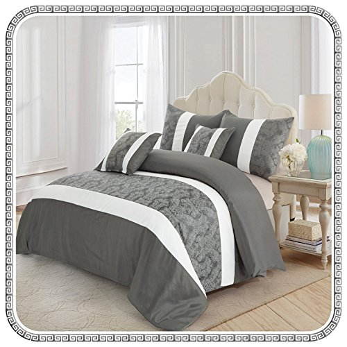 Aspire Homeware Jacquard Silk Bed Set Luxury Floral Bedding 3Pcs Quilted...