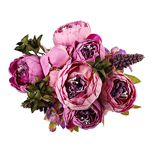 (Sunnyglade Vintage Artificial Peony Silk Flowers Bouquet for Home Office Wedding Party Festival Decoration (Purple))