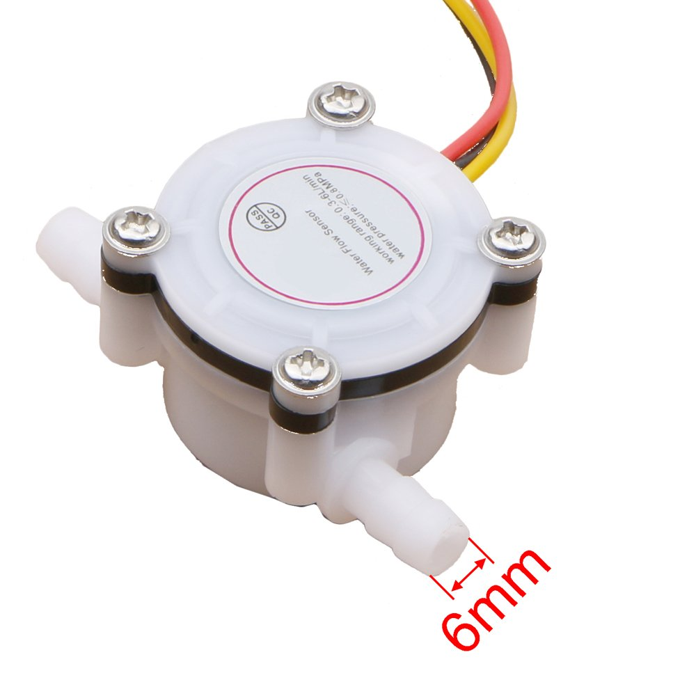 Color blanco café máquina Sensor Medidor de flujo sensor de flujo de agua purificador de agua Conectado manguera de 6 mm: Amazon.es: Amazon.es
