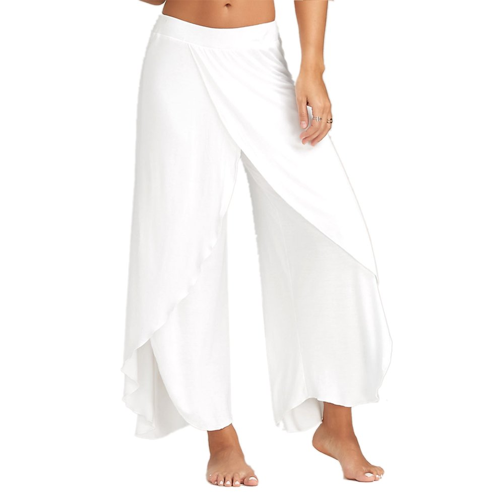 DressLily Women High Slit Flowy Layered Crooped Casual Palazzo Pants,White,XL