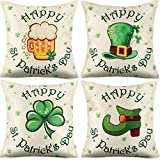 Hotop 4 Pieces St. Patrick's Day Pillow Case Shamrock Cushion Cover with Invisible Zipper for St. Patrick's Day Home Office Supplies (Color Set 3)