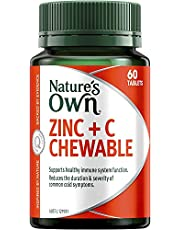 Nature's Own Zinc Plus C Chewable - Relieves Cold Symptoms - Supports Immunity - Aids in Minor Wound Healing, 60 Tablets
