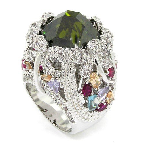 Fit for a Queen - Massive Ornate Victorian Cocktail Ring with Olivine CZ, Size 9 by Alljoy