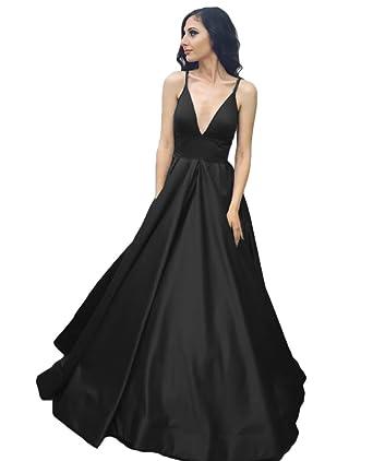 QiJunGe Backless Satin Evening Dresses V Neck Long Prom Dress Simple Party Gown Black US 2