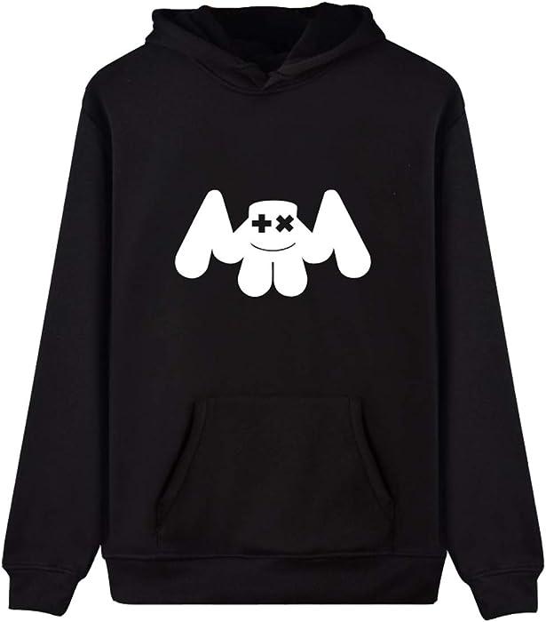 OLIPHEE Sudaderas con Capucha Impresión símbolo de Marshmello para Hombre