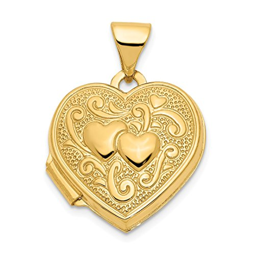 14k Yellow Gold Heart Photo Pendant Charm Locket Chain Necklace That Holds Pictures Fine Jewelry For Women Gift Set