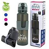 FOLDABLE WATER BOTTLE - Collapsible, Portable, Silicone Drink Bottle for Hiking, Sports & Travel. Lightweight, Reusable Bottles for Men, Women and Kids. BPA Free. 22oz (Gray with Safe Lock Metal Clip)