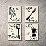 Kitchen Wall Decor Art Prints 4 UNFRAMED Rustic Wall Signs Home Coffee Decor Pictures Funny and Inspirational Farmhouse Style Wall Decorations Living Dining Room Cuadros pared de cocina (Beige, 5x7)