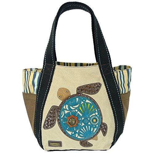 - Chala Carryall Zip Tote, Canvas Handbag, Top Zipper, Animal Prints (Sea Turtle-Sand)