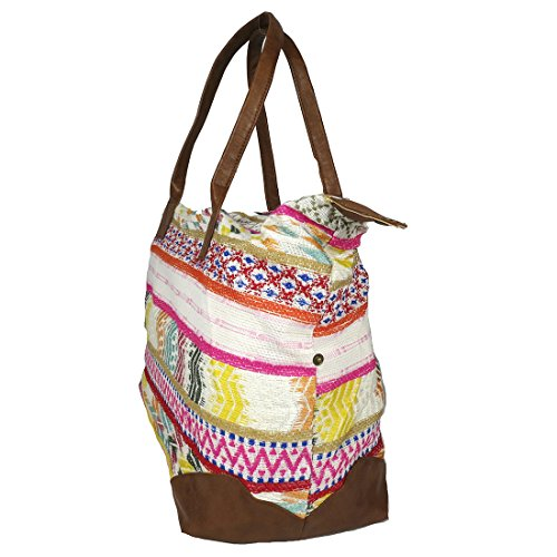 Raj Pink Multi Ethnic Print Duffle Bag Weekender with Leather by Raj Imports (Image #2)