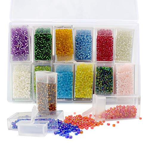 (ZIIYAN Approx 11000pcs 3mm Glass Seed Beads, Small Pony Beads Assorted Kit with Removable Organizer Box for Jewelry Making, Beading, Crafting, 24colors, About 460pcs per Color)