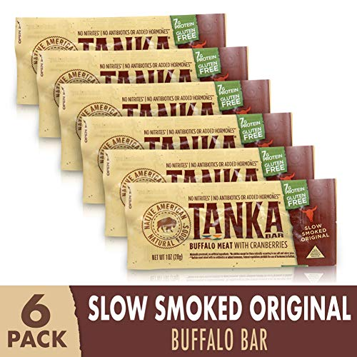 Bison Pemmican Meat Bars with Buffalo & Cranberries by Tanka, Gluten Free, Beef Jerky Alternative, Slow Smoked Original, 1 Oz, Pack of 6