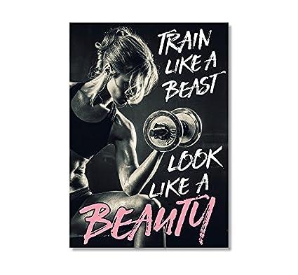 Amazon.com: LAB NO 4 Train Like A Beast Gym Motivational ...