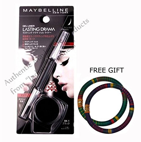 Maybelline Black Lasting Drama Gel Eyeliner With 2 Way Brush 2.5g - With FREE GIFT Pair of Multicolor Bangles